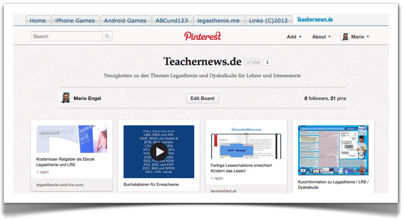 teachernews.de with pinterest